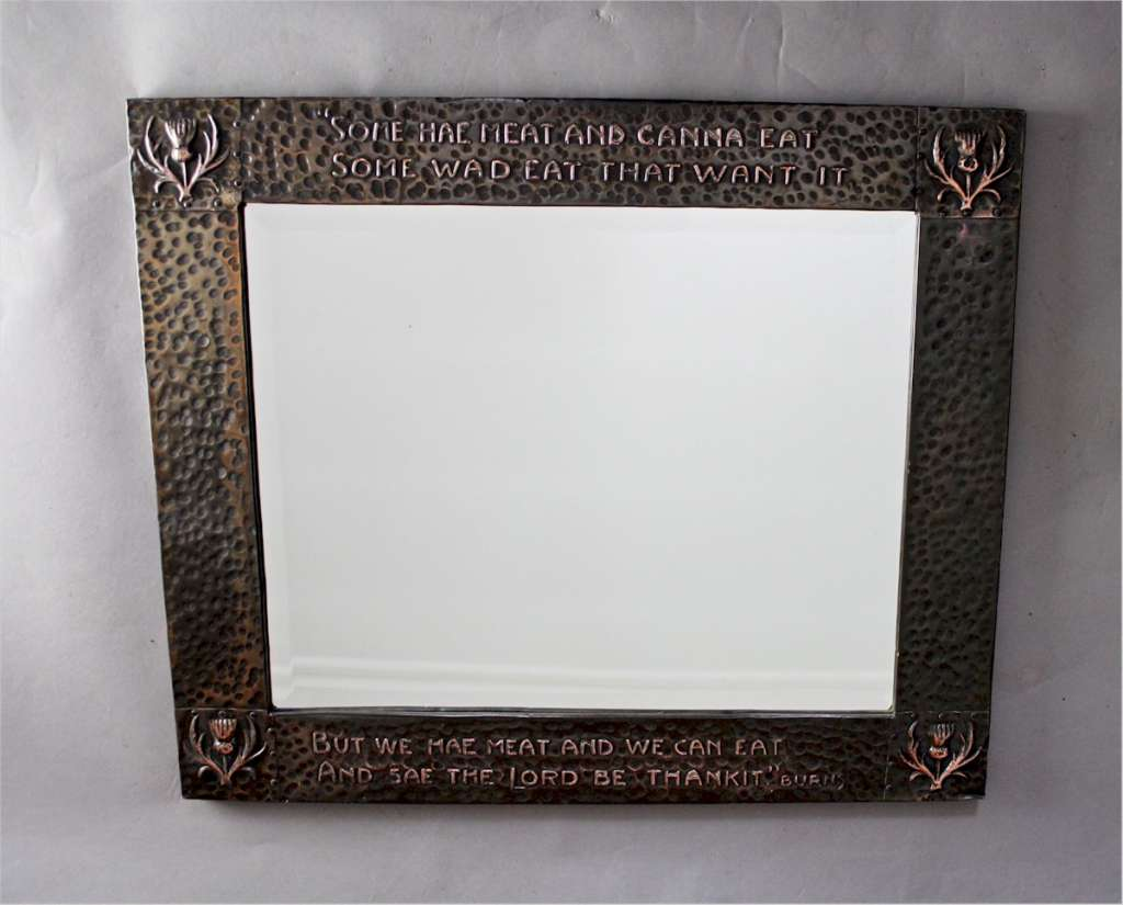 Arts and Crafts copper mirror with Burns motto