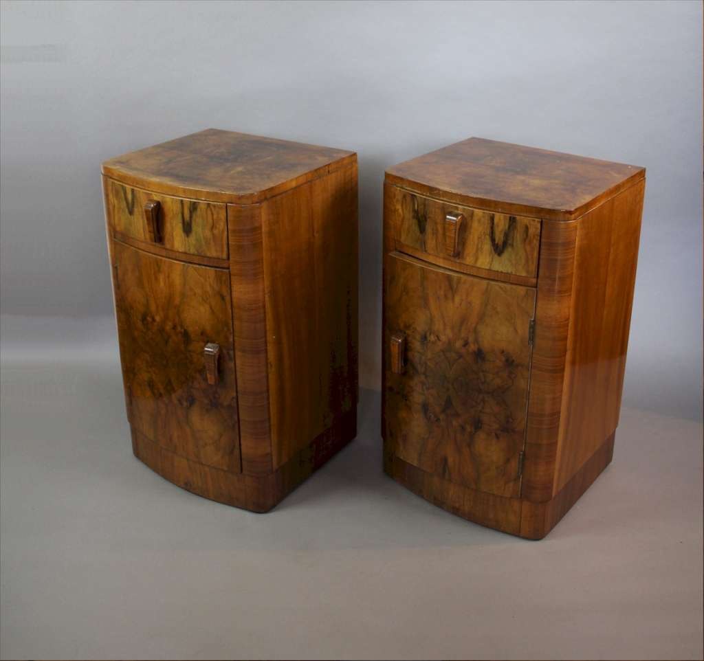 Pair of Art Deco burr walnut bedside cabinets