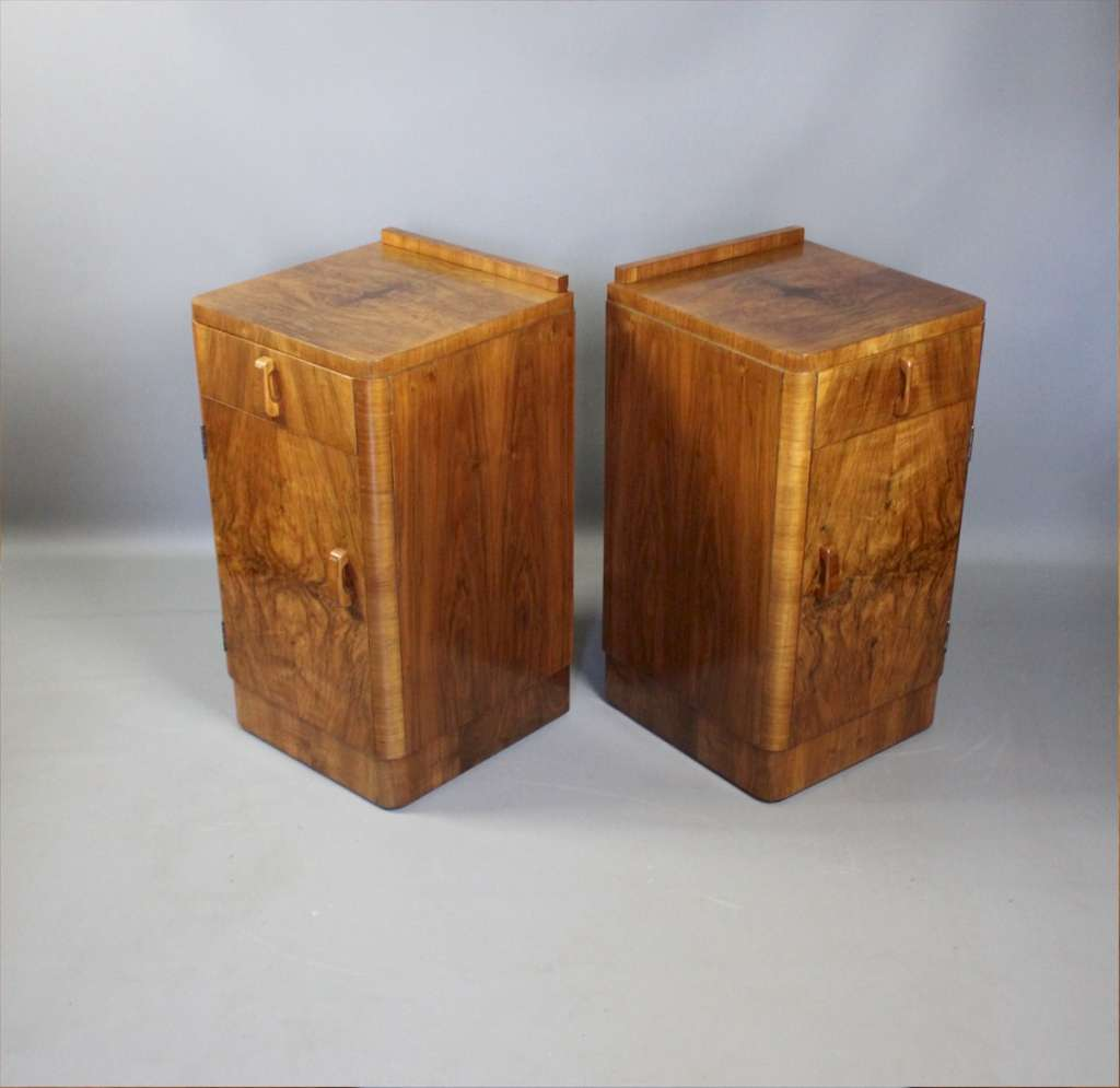 Burr walnut Art Deco pair of bedside cabinets