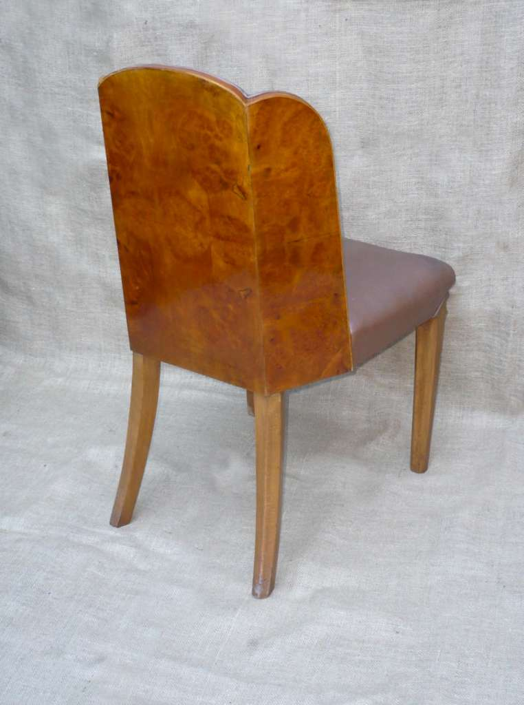 Art Deco tub chair in well figured walnut