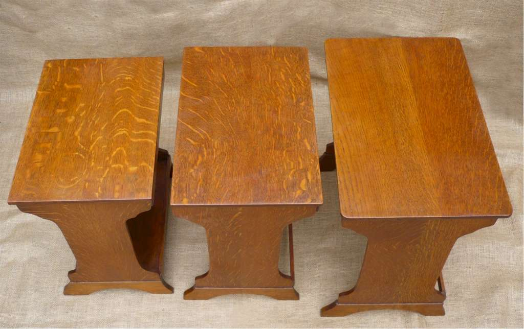 Arts and crafts nest of tables in golden oak