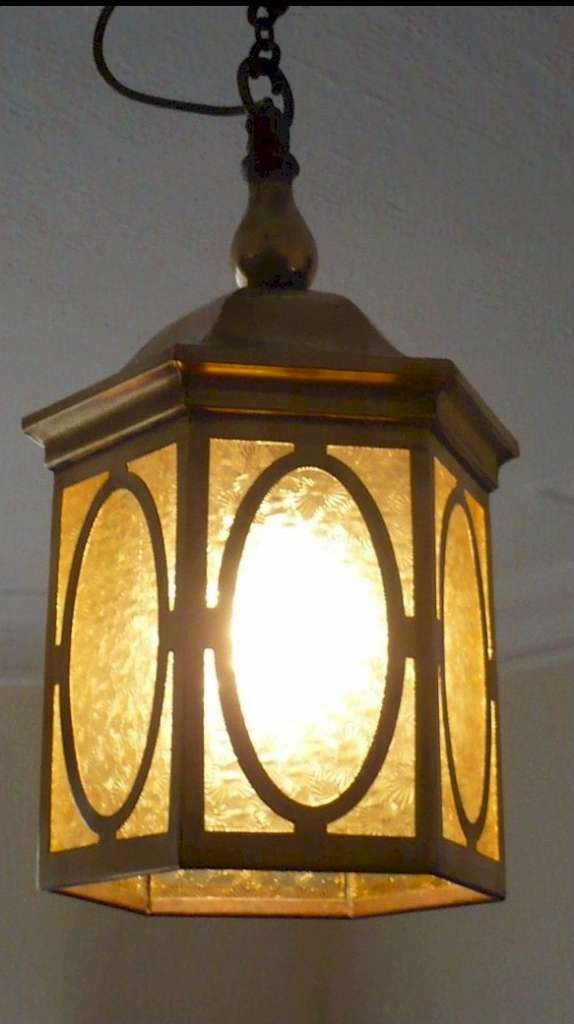 Arts and crafts lantern in unpolished brass