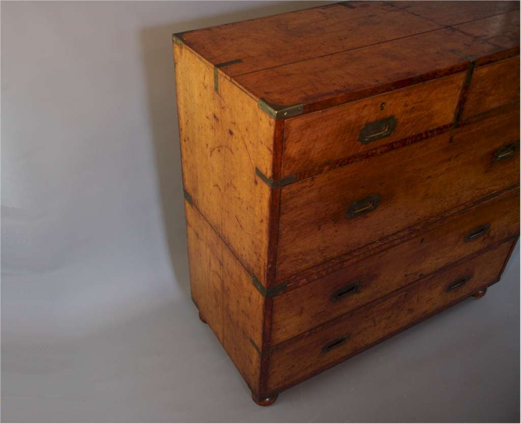 Antique campaign chest of drawers in solid oak