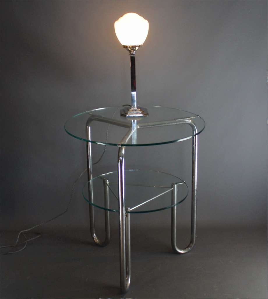Chrome art deco table lamp on stepped base