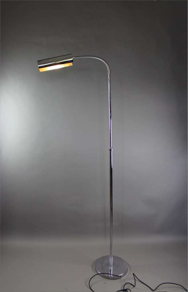 Chrome floor lamp with bendy shade. c1960's