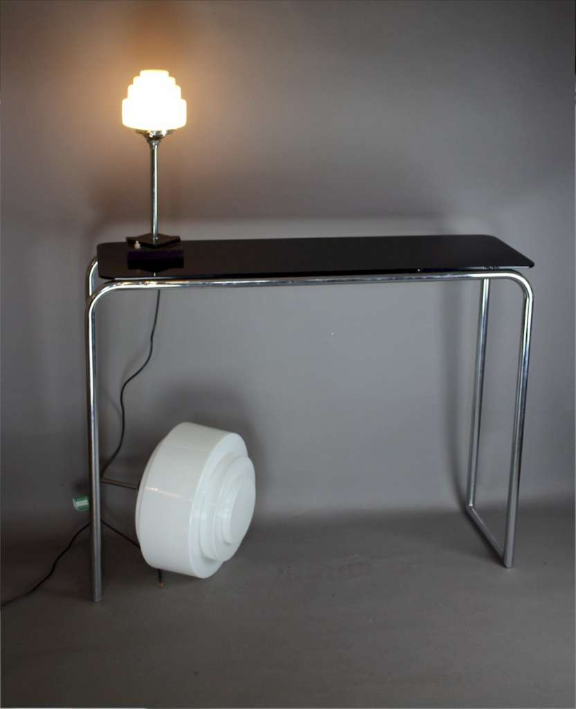 Art Deco Modernist chrome and stepped opaline lamp shade