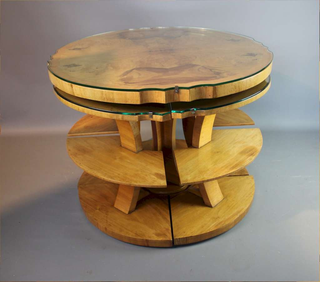 Art Deco walnut nest of 5 tables by Epstein