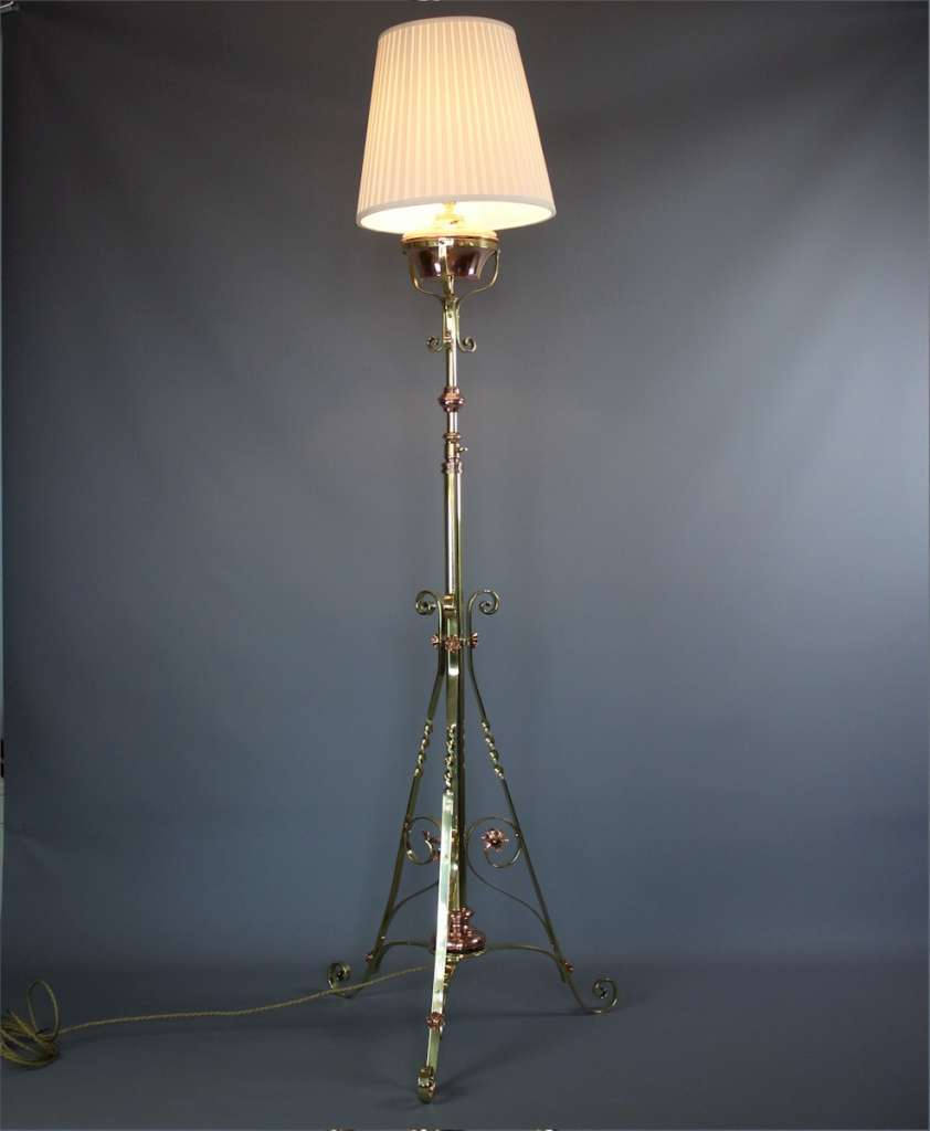 Victorian copper and brass floor lamp