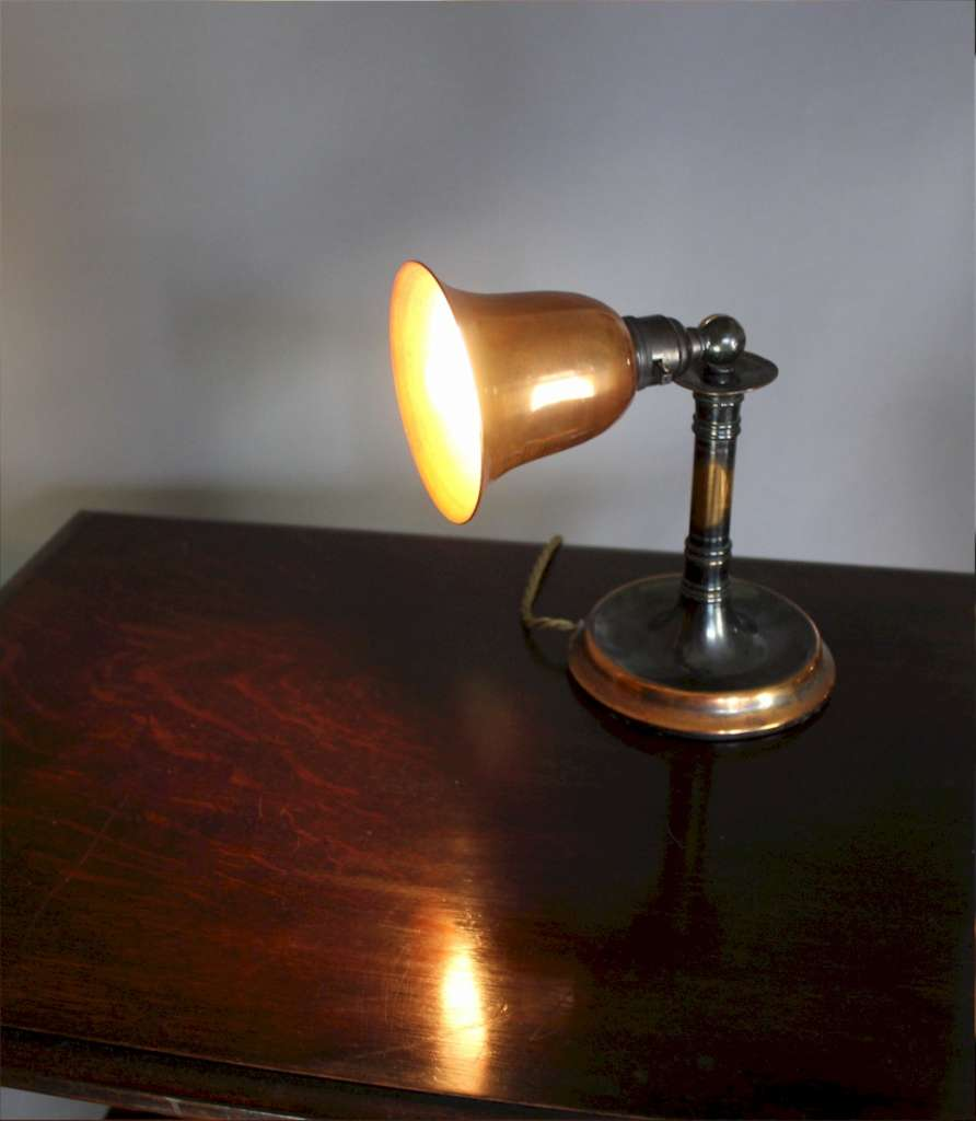 Copper Edwardian adjustable table lamp