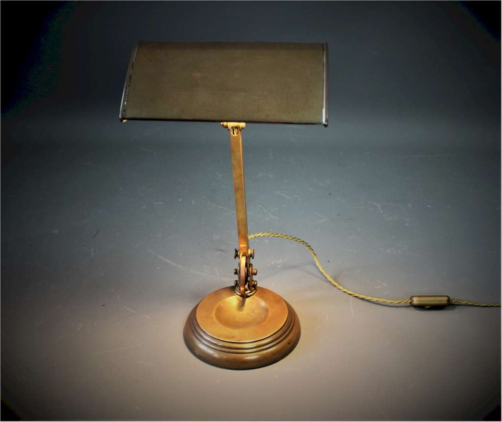British 1930's brass bankers lamp