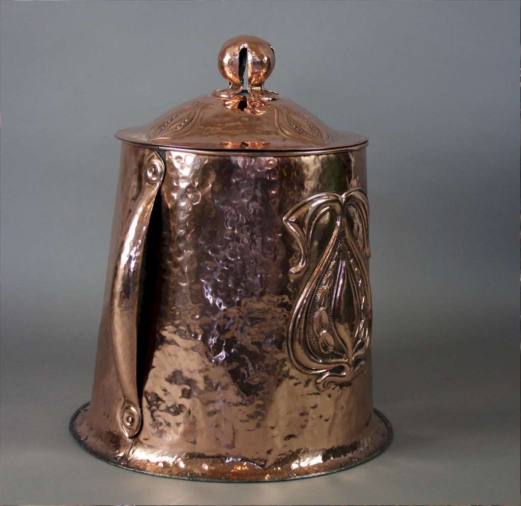 Art Nouveau copper coal bin with lid