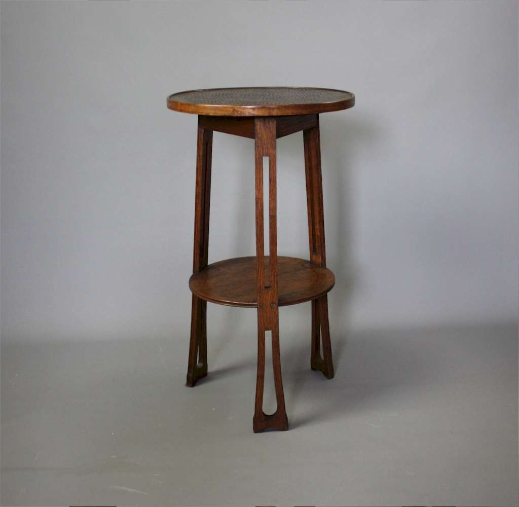 oak arts and crafts copper topped occasional table