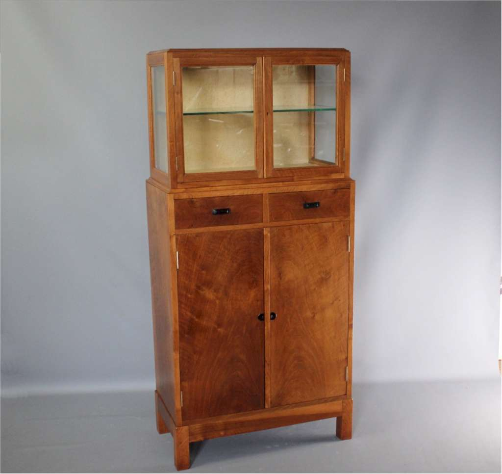 Cotswold School walnut display cabinet with ebony handles