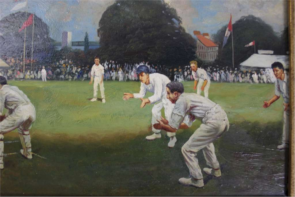 Oil painting of a cricket match signed and dated