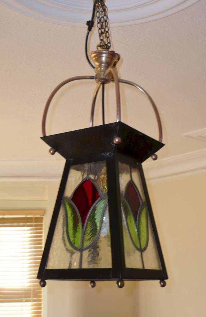 Arts and crafts stained glass lantern