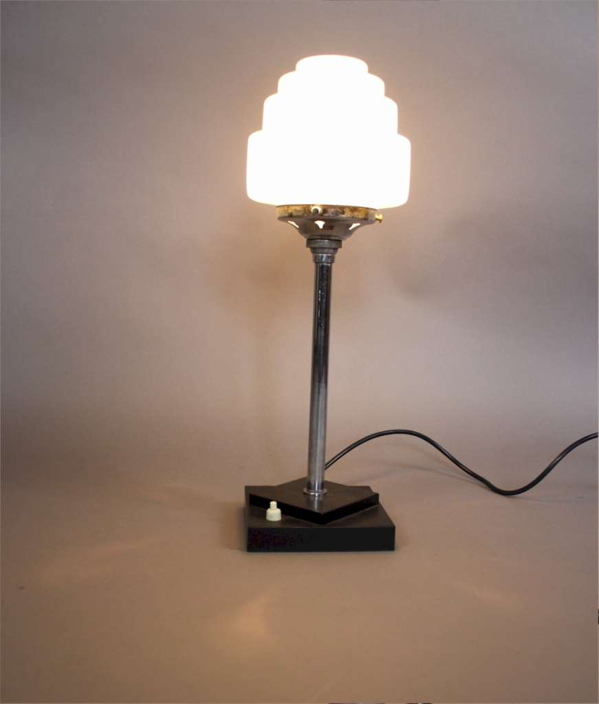 Art Deco chrome lamp with stepped shade