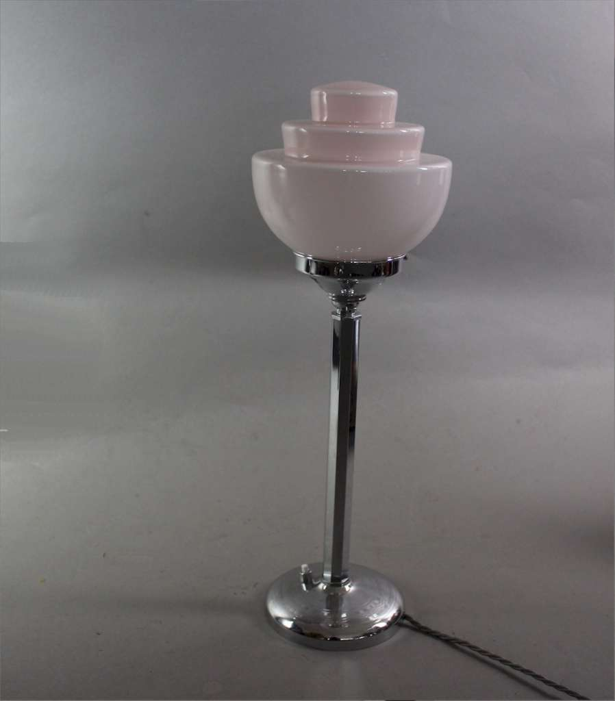 Art Deco chrome table lamp with stepped pink shade