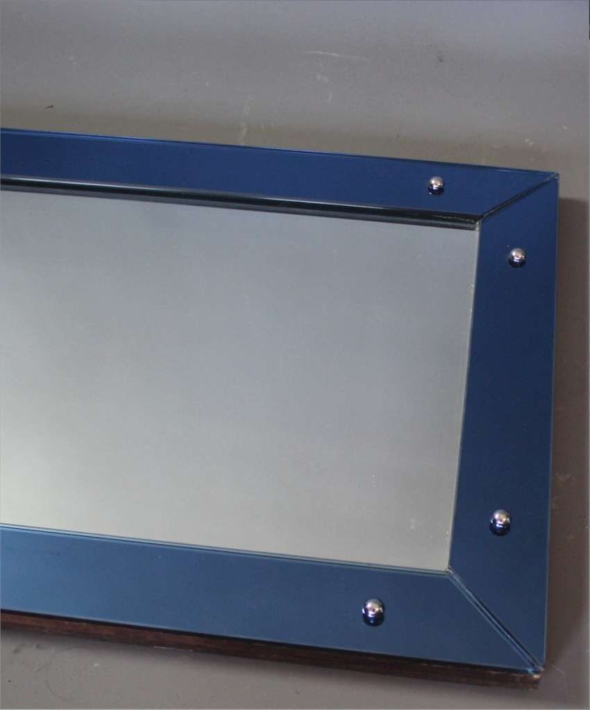 Art Deco blue framed mirror