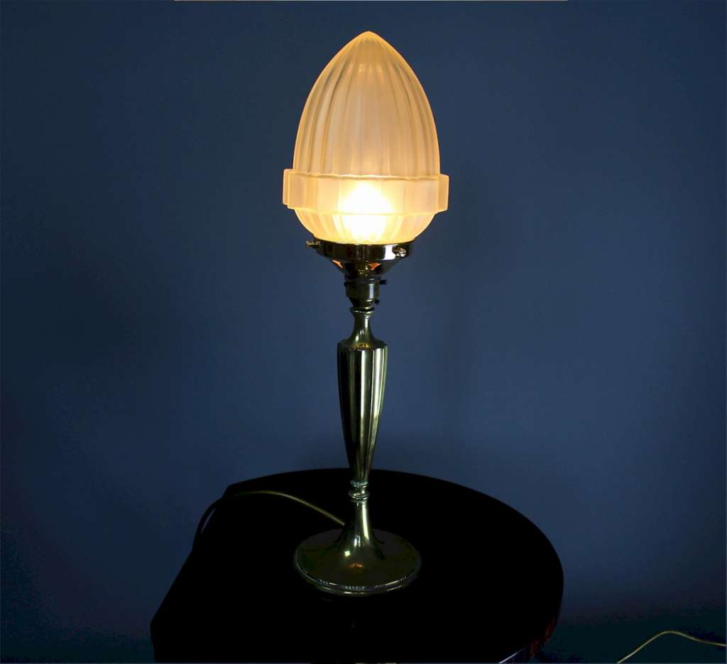 Art Deco brass fluted table lamp