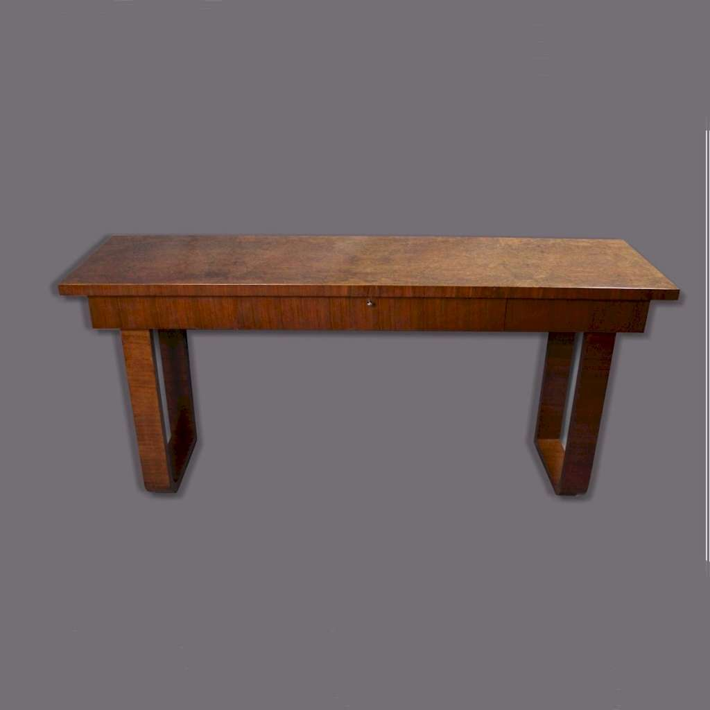 Art Deco birds eye maple and walnut console table