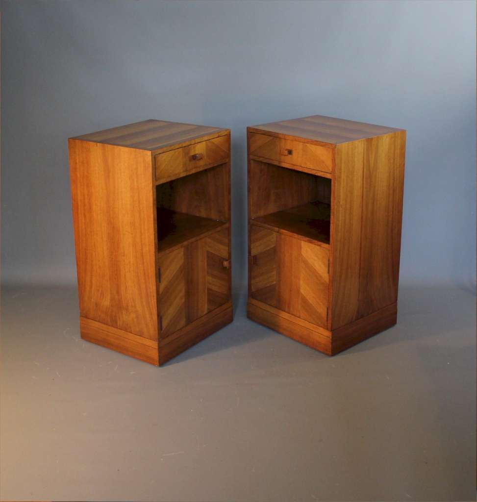 Art Deco pair of bedside cabinets by Heals