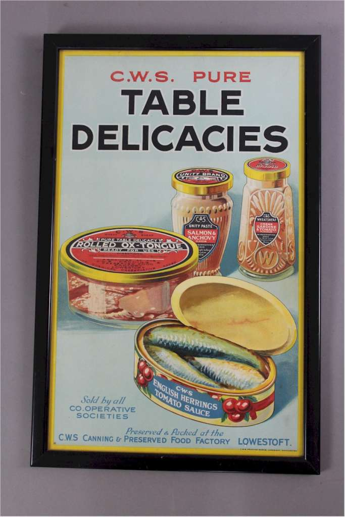 Framed Co-Op advert for Table Delicacies