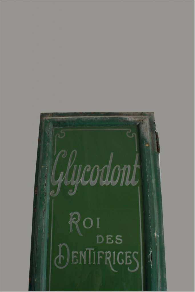 Etched glass shop sign from French perfumery c1900