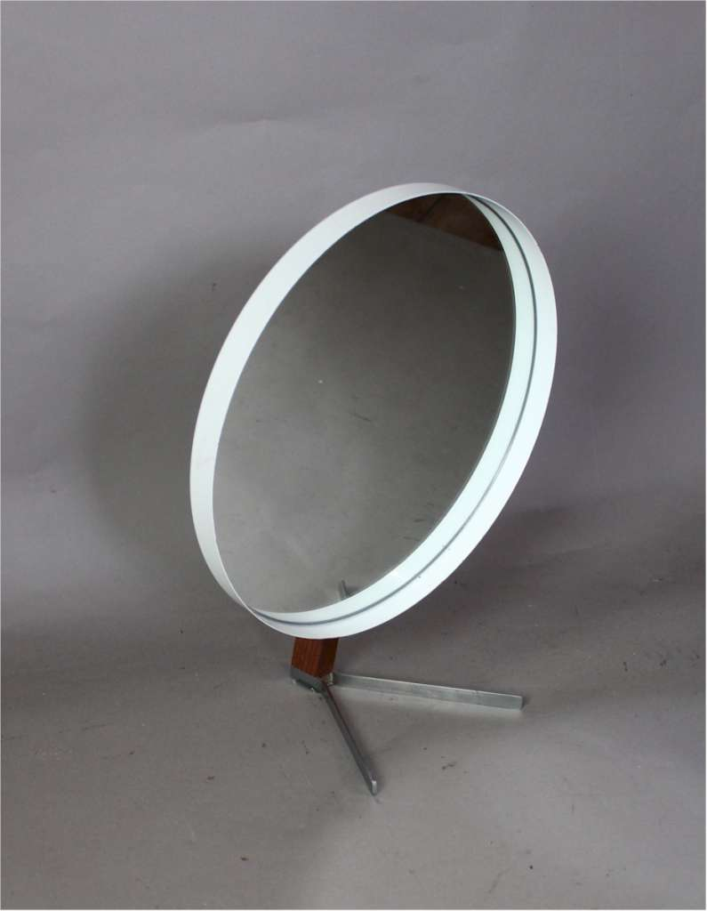 Vanity / dressing table adjustable mirror in teak and painted steel. Produced by Durlston Ltd