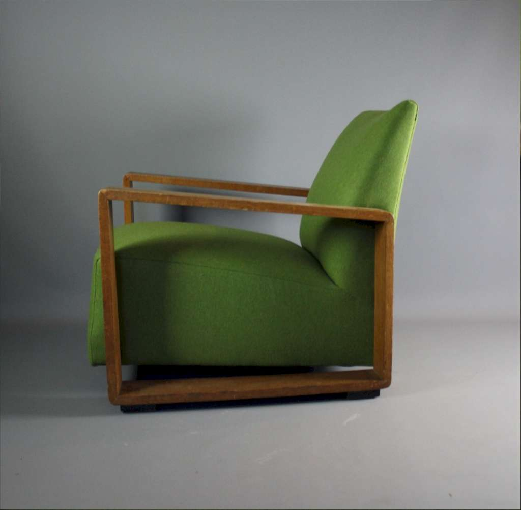 Stylish 1930's oak framed armchair