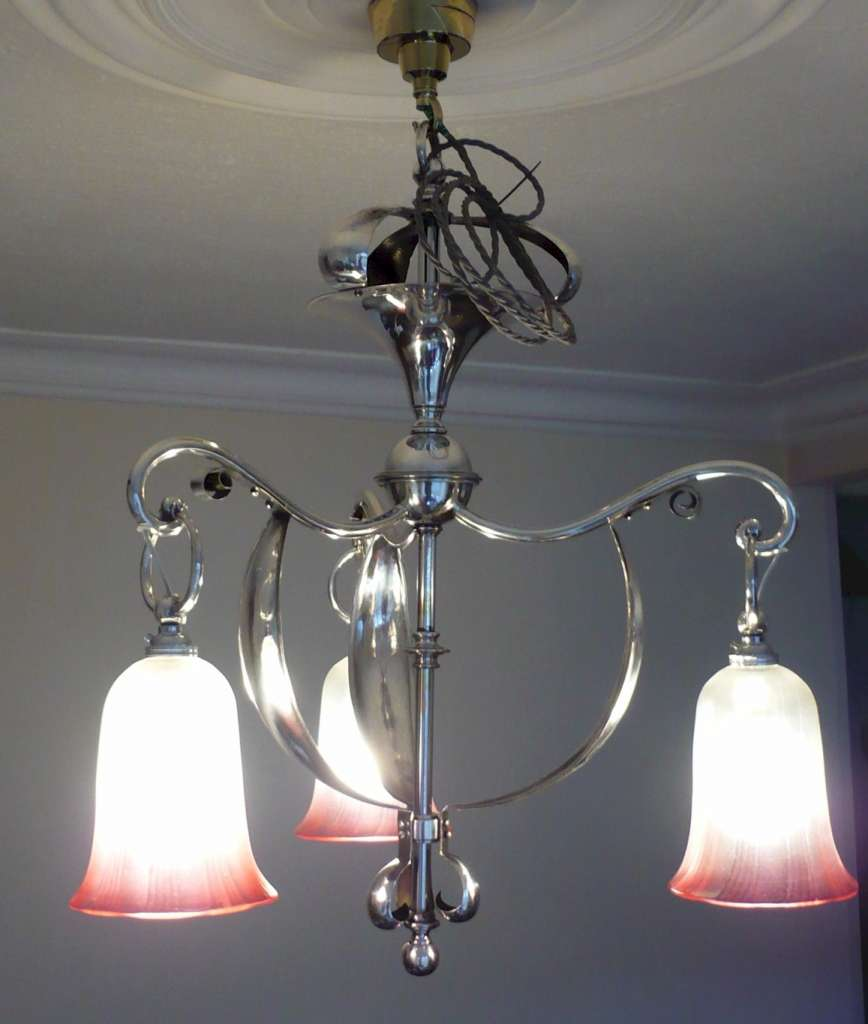 Arts and crafts silver plated ceiling light