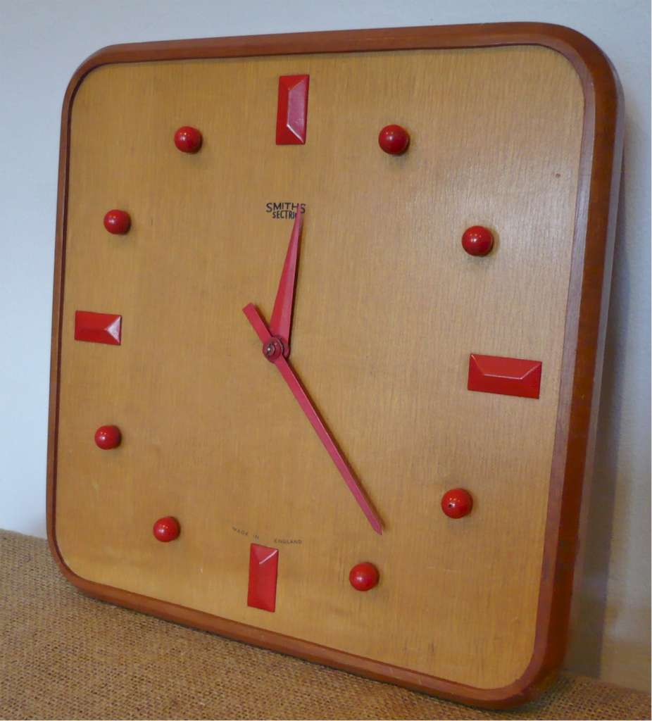 Mid Century English electric wall clock by Smiths