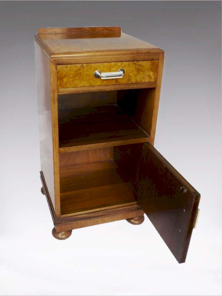 Art Deco bedside cabinet in burr walnut