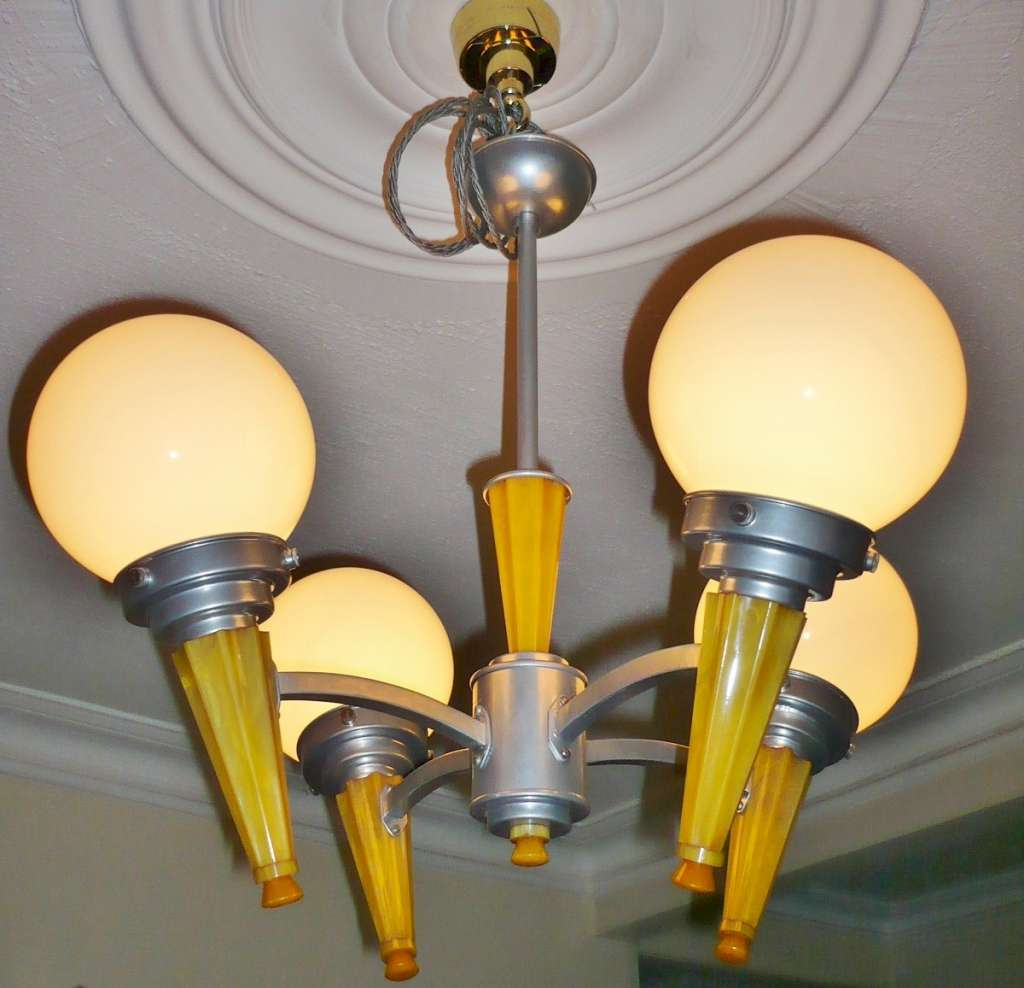 Art Deco phenolic and aluminium ceiling light
