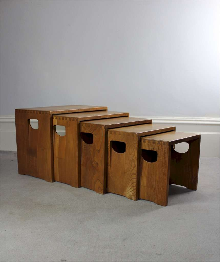 Ercol nest of five tables in Elm