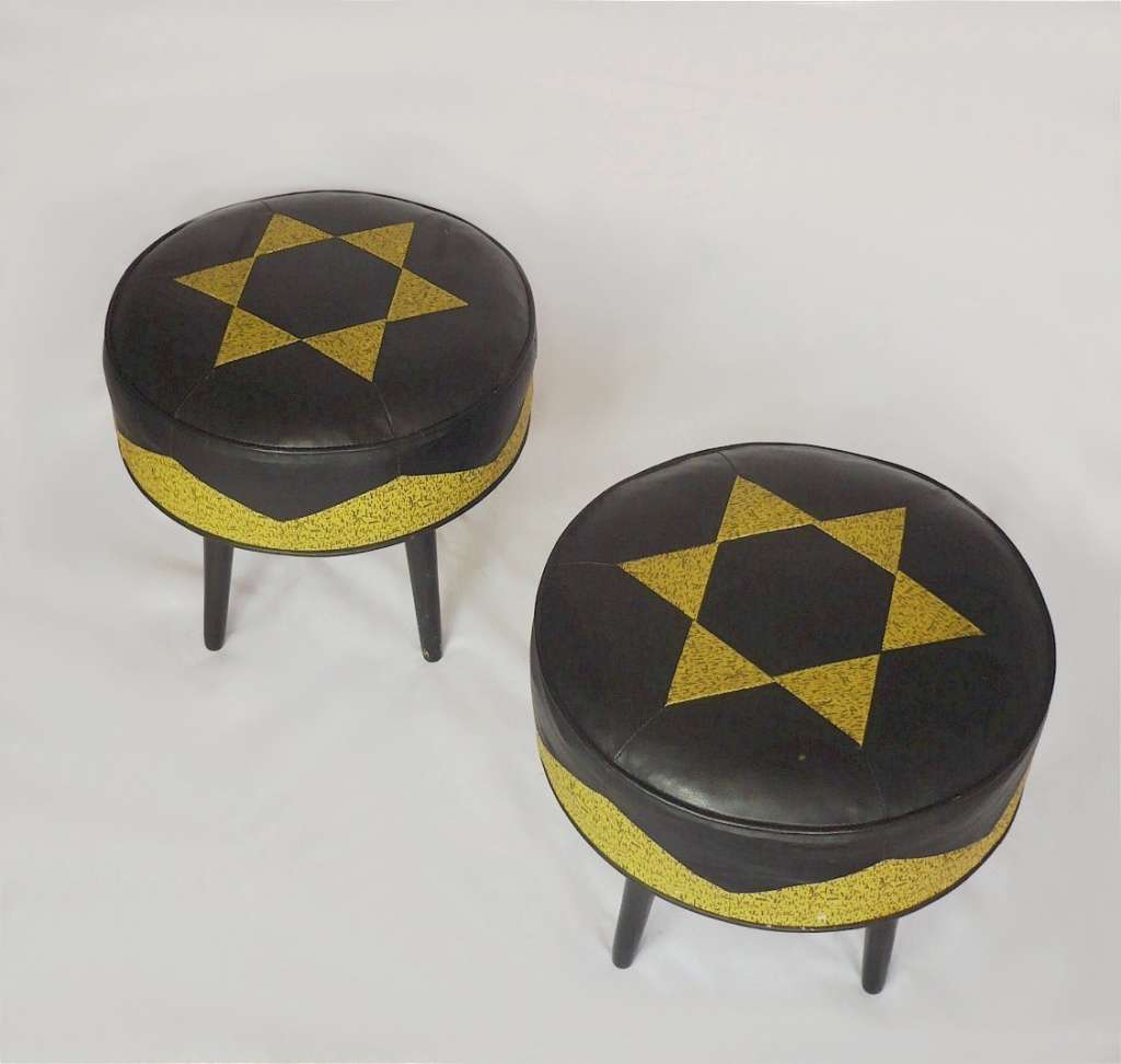Pair of Mid Century leather stools