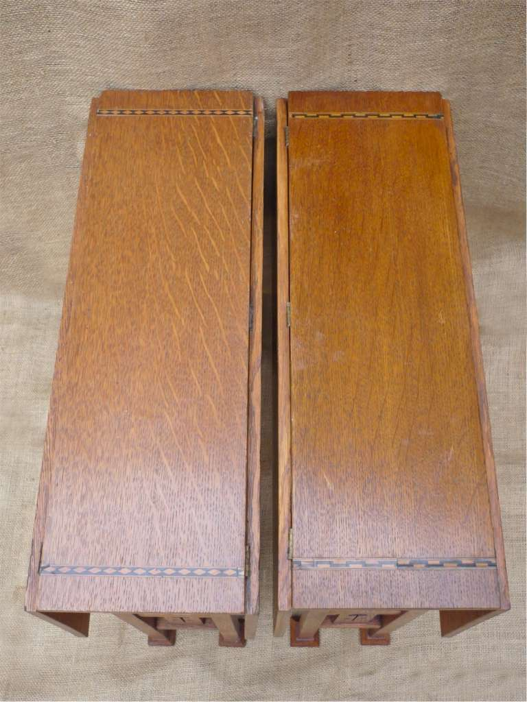 Pair of inlaid arts and crafts drop leaf tables