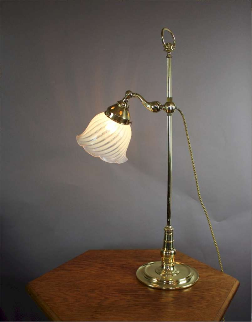 Arts and Crafts brass table with vaseline shade