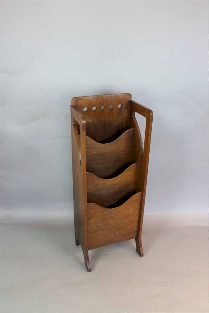 Arts and Crafts oak magazine rack by Finnigans