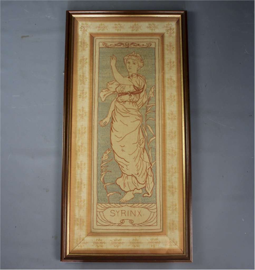 Pair of arts and crafts silk panels in the manner of Selwyn Image