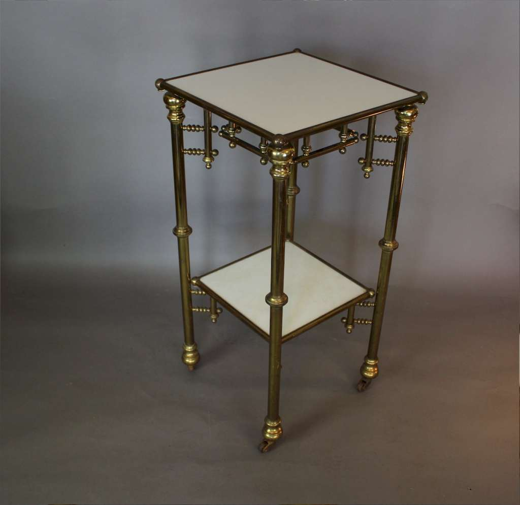 Quality French brass & vitrolite table c1900