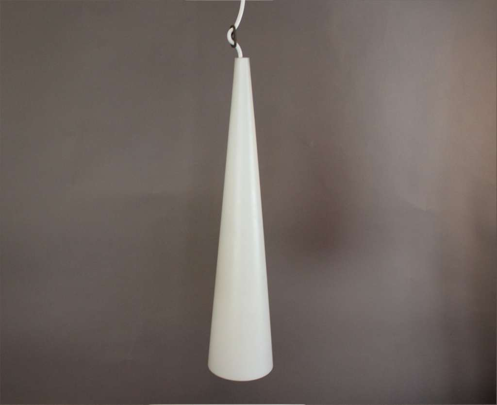 1950's white conical glass pendant lamp