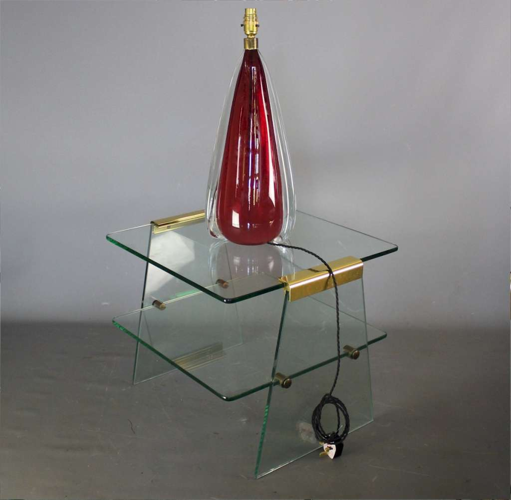 Quality 1970's glass and brass side table