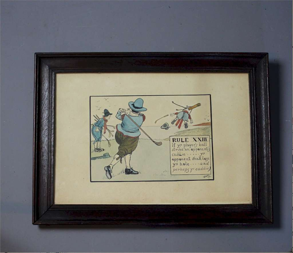 Humorous arts and crafts golf rules prints