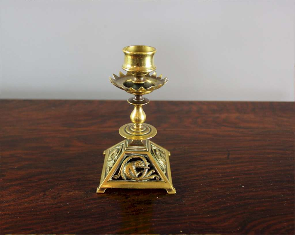 Pretty Gothic brass candlestick with serpent c1880's.