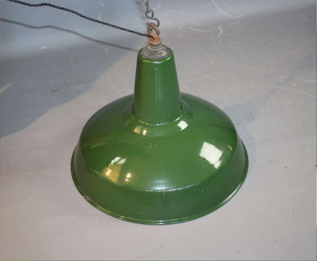 Large green enamelled Industrial shade