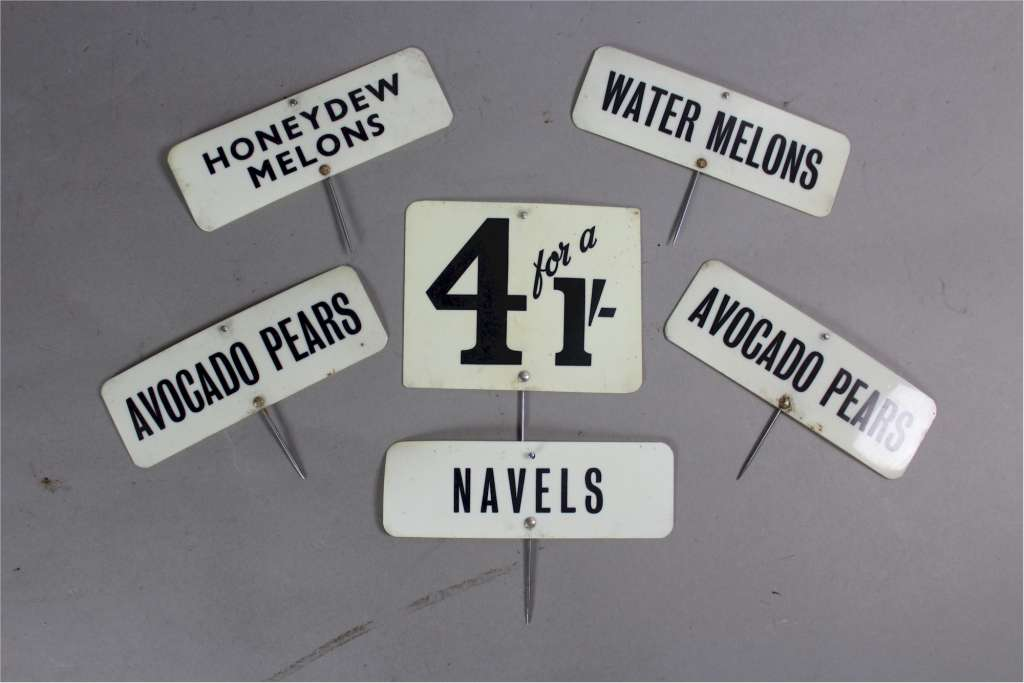 Vintage greengrocer plastic product signs / Labels