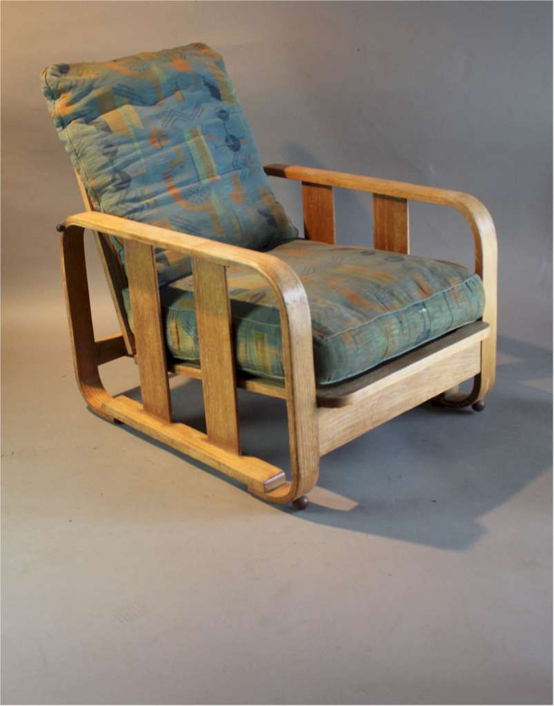 1930's Heals limed oak bentwood lounge chair