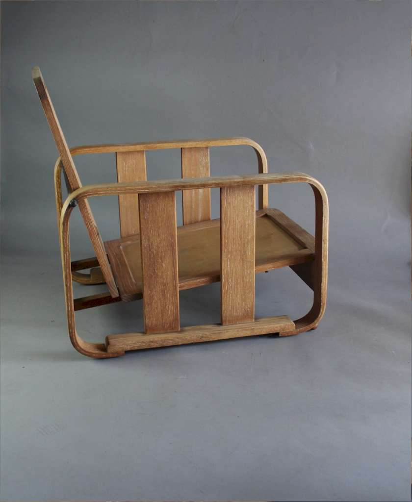 1930's Heals limed oak bentwood lounge chair.