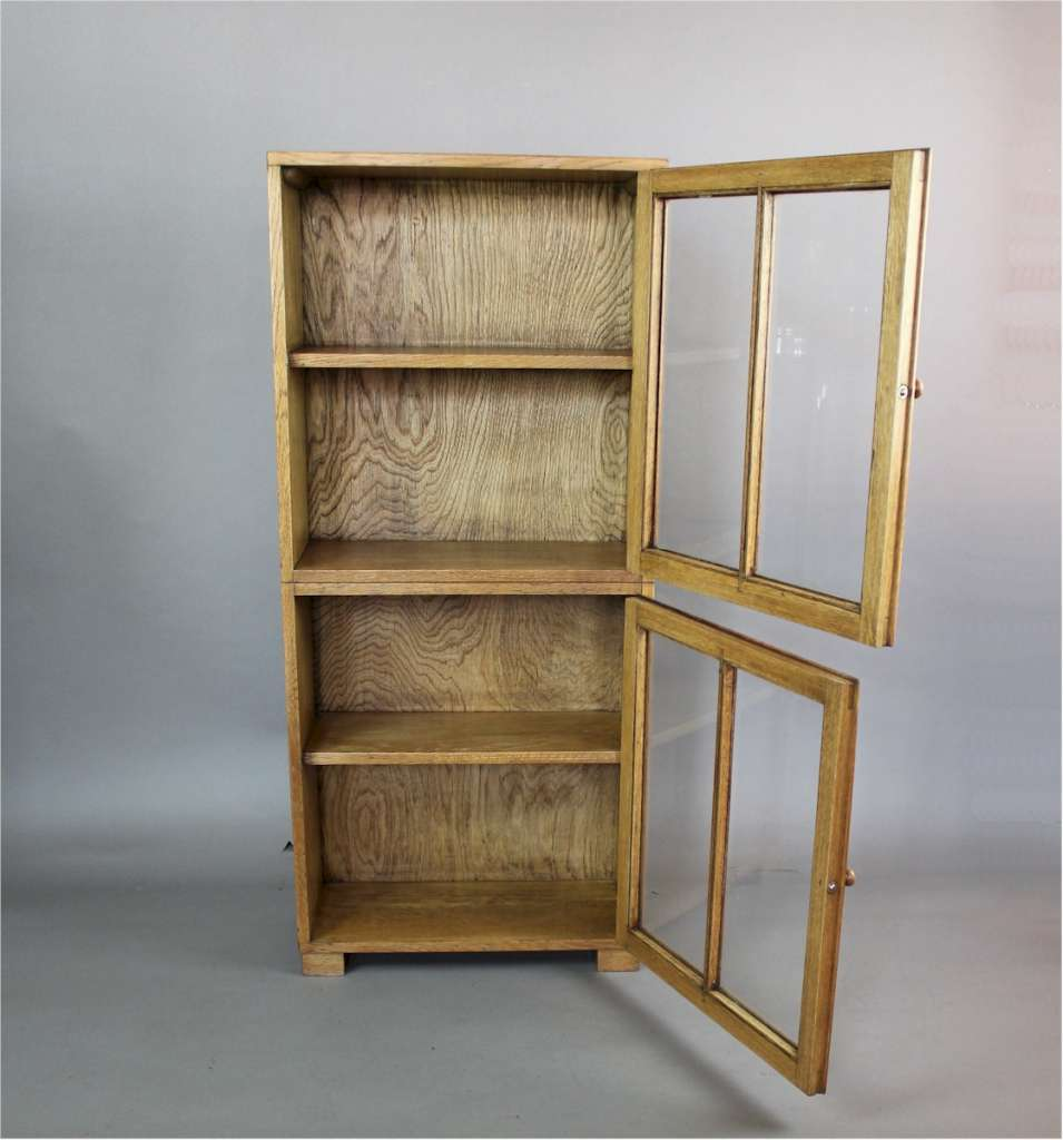 Light oak glazed bookcase by Heals c1930
