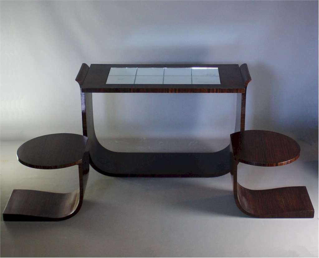 Art Deco nest of tables by Ray Hille in macassar veneer